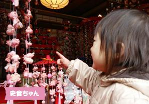 投稿者様:柴田様 タイトル:初めての吊り雛  投稿者様コメント:可愛らしい吊り雛を指さしては、「ちょうちょ!」「はな!」など大好きな物がたくさん吊られていて嬉しそうでした。
